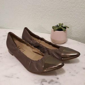 AGL metallic cap toe ballerina flats